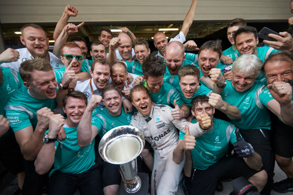 Shanghai International Circuit, Shanghai, China. Sunday 17 April 2016. Nico Rosberg, Mercedes AMG, 1st Position, and the Mercedes team celebrate victory after the race. World Copyright: Steve Etherington/LAT Photographic ref: Digital Image SNE22048