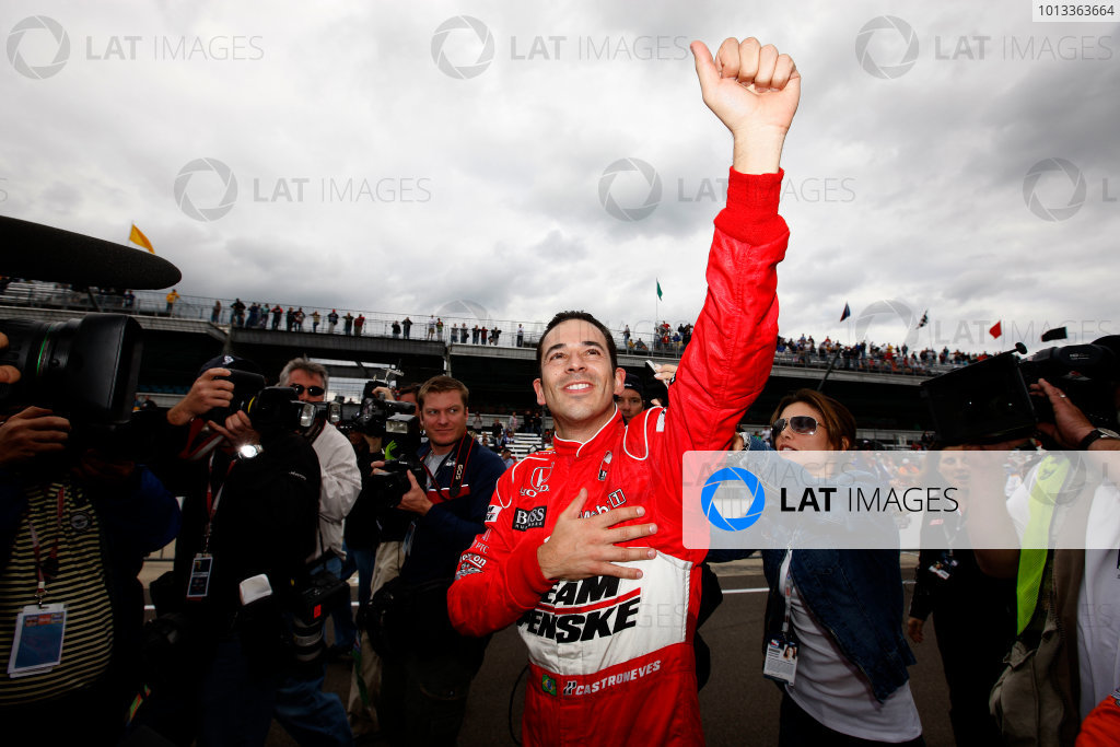9-17 May, 2009, Indianapolis, Indiana, USAHelio Castroneves celebrates his pole winning performance at Indy©2009, Michael L. Levitt, USALAT Photographic