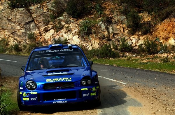 Tommi Makinen (FIN) Subaru Impreza WRC on stage 4.Tour De Corse, Rd3, Corsica, France, 08 March 2002.DIGITAL IMAGE