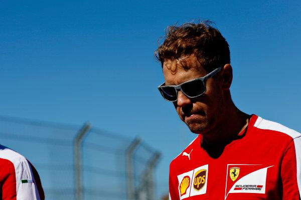 Sochi Autodrom, Sochi, Russia. Thursday 8 October 2015. Sebastian Vettel, Ferrari. World Copyright: Alastair Staley/LAT Photographic ref: Digital Image _79P8678