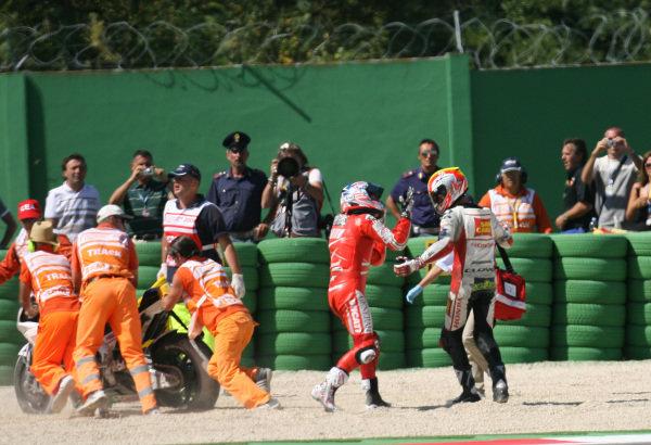 Misano, Italy. 4th - 6th September 2009.Nicky Hayden Ducati Marlboro Team shows his frustration at Alex de Angelis San carlo Honda Gresini after causing the second corner crash.World Copyright: Martin Heath/LAT Photographicref: Digital Image SE5K8691