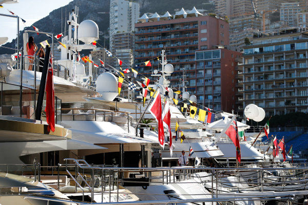 Monte Carlo, Monaco. Wednesday 20 May 2015. Yachts in the harbour. World Copyright: Charles Coates/LAT Photographic. ref: Digital Image _N7T0799