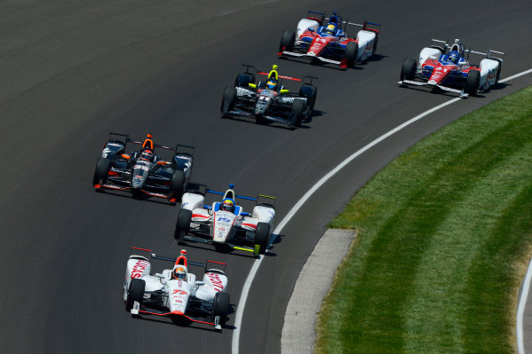 29 May, 2016, Indianapolis, Indiana, USA Oriol Servia (#77), Gabby Chaves (#19), Alex Tagliani (#35), Sebastien Bourdais (#11), Jack Hawksworth (#41) and Takuma Sato (#14) ?2016, F. Peirce Williams LAT Photo USA