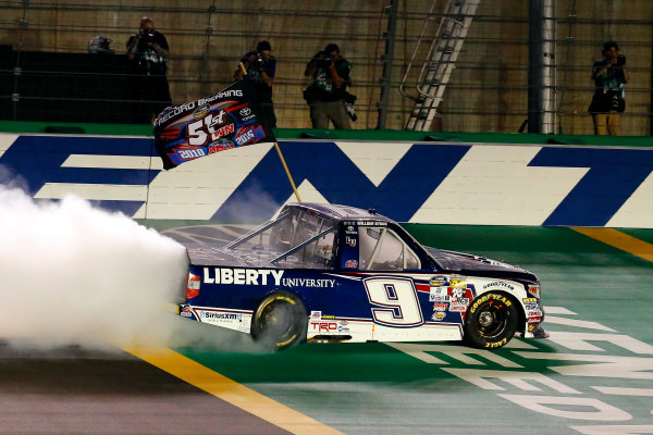 6-7 July, 2016, Sparta, Kentucky USA William Byron celebrates his win with a burnout ?2016, Russell LaBounty LAT Photo USA