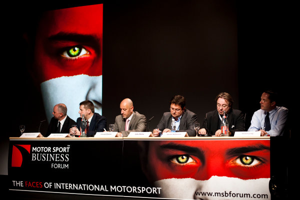 9th - 10th December 2009, Monaco. Neil Duncanson, (CEO North One), Paul Hembery, (Motorsport Director and CEO East Asia and Pacific, Pirelli), Gerard Quinn, (Motorsport Direct-Europe, Ford), John Nolan, (Head of Digital, North One Television), Jarmo Mahonen, (MD Neste Rally Finland) and Simon Long, (CEO ISC). Portrait. World Copyright: Drew Gibson/LAT Photographic.ref: Digital Image _Y8P1436