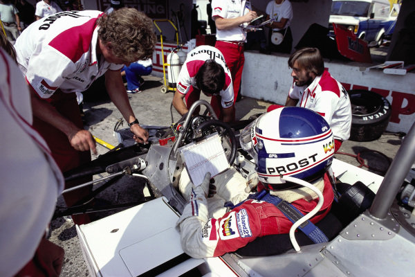 Alain Prost, McLaren M29C Ford, during practice.