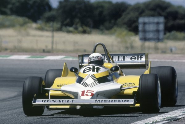 1981 Spanish Grand Prix.Jarama, Spain. 19-21 June 1981.Alain Prost (Renault RE30), retired.World Copyright: LAT PhotographicRef: 35mm transparency 81ESP36