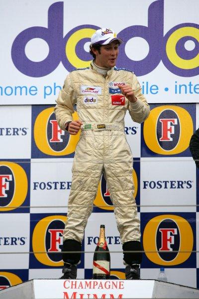 2006 Australian Grand Prix - F3 Support RaceAlbert Park, Melbourne, Australia.29th March - 2nd April 2006Bruno Senna celebrates his win in the Formula 3 race. Podium.World Copyright: LAT Photographic. ref: Digital Image Only.