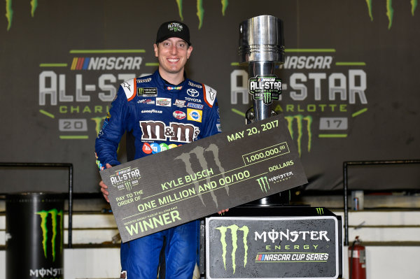 Monster Energy NASCAR Cup Series Monster Energy NASCAR All-Star Race Charlotte Motor Speedway, Concord, NC USA Saturday 20 May 2017 Kyle Busch, Joe Gibbs Racing, M&M's Caramel Toyota Camry celebrates his win in Victory Lane World Copyright: Nigel Kinrade LAT Images ref: Digital Image 17CLT1nk07375