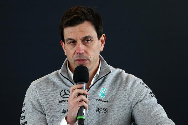 Mercedes F1 W08 Formula 1 Launch. Silverstone, Northampton, UK. Thursday 23 February 2017. Toto Wolff  World Copyright: Hoyer/Ebrey/LAT Images Ref: MDH38837
