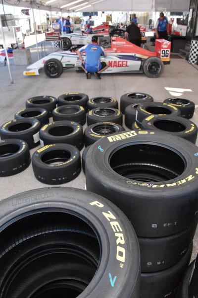 2017 F4 US Championship Rounds 1-2-3 Homestead-Miami Speedway, Homestead, FL USA Friday 7 April 2017 Miller Vinatieri Leguizamon Motors garage space & Pirelli tires World Copyright: Dan R. Boyd/LAT Images