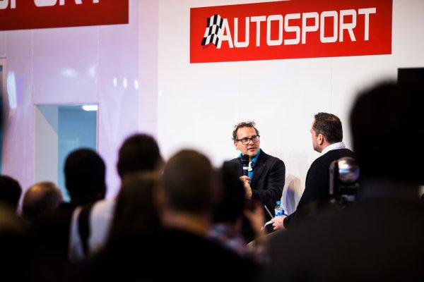 Autosport International Exhibition. National Exhibition Centre, Birmingham, UK. Sunday 15 January 2017. Jacques Villeneuve is interviewed on the Autosport stage Photo: Sam Bloxham/LAT Photographic ref: Digital Image _SLA6034