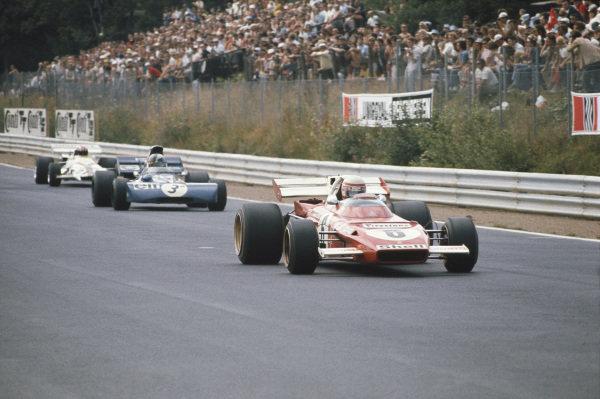1971 German Grand Prix.  Nurburgring, Germany. 30th July - 1st August 1971.  Clay Regazzoni, Ferrari 312B2, leads François Cevert, Tyrrell 002 Ford, and Jo Siffert, BRM P160.  Ref: 71GER04. World Copyright: LAT Photographic