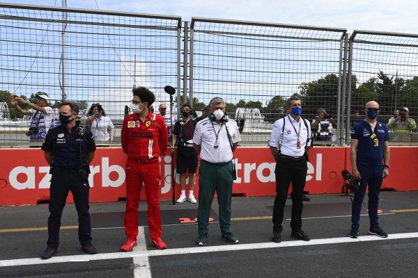Christian Horner, Team Principal, Red Bull Racing, Mattia Binotto, Team Principal, Ferrari, Otmar Szafnauer, Team Principal and CEO, Aston Martin F1, Guenther Steiner, Team Principal, Haas F1 and Simon Roberts, Team Principal, Williams