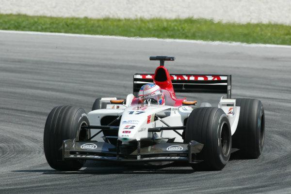 2003 Malaysian Grand Prix. Sepang, Kuala Lumpur, Malaysia.21-23 March 2003.Jenson Button (B.A R. 005 Honda) 7th position.World Copyright - LAT Photographic ref: Digital Image Only