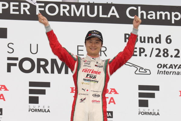 Winner Kenta Yamashita, Kondo Racing, Dallara SF19 Honda, celebrates on the podium2019 SUPER FORMULA Rd6 OKAYAMA / Winner Kenta Yamashita ( #3 KONDO RACUNG ) podium portrait / Photo by Yasushi Ishihara