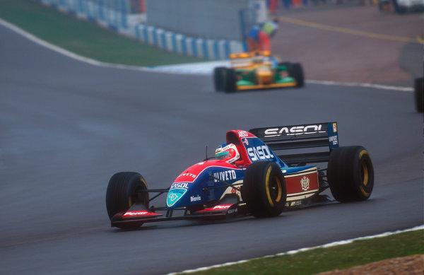 1993 European Grand Prix. Donington Park, England. 9-11 April 1993. Rubens Barrichello (Jordan 193 Hart) 10th position at Redgate. Ref-93 EUR 36. World Copyright - LAT Photographic
