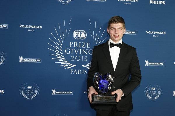 Max Verstappen (NED). FIA Gala Awards, Paris, France, 6 December 2013.