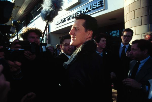 FIA Hearing, RAC MSA, Colnbrook, Berkshire, Great Britain.11 November 1997.Michael Schumacher leaves the RAC MSA Headquarters in Colnbrook after his hearing into his driving at the European Grand Prix at Jerez in which he clashed with Jacques Villeneuve.World - Tee/LAT Photographic