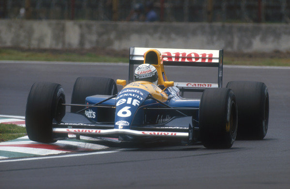 1991 Mexican Grand Prix.Mexico City, Mexico.14-16 June 1991.Riccardo Patrese (Williams FW14 Renault) 1st position.Ref-91 MEX 13.World Copyright - LAT Photographic