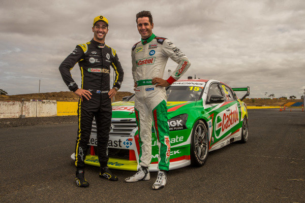 Daniel Ricciardo tests Kelly Racing Nissan Supercar at Calder, and poses with Rick Kelly