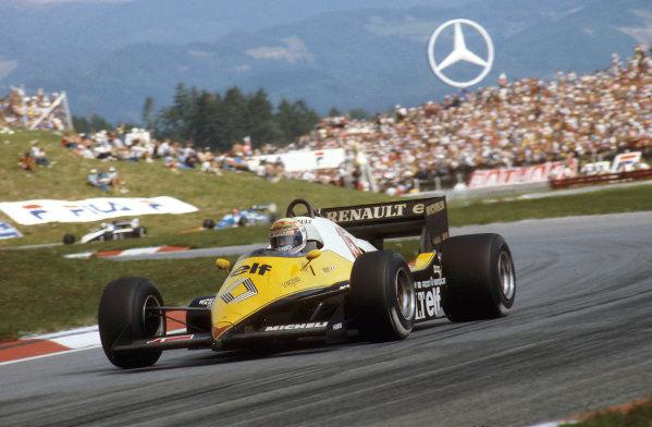 Osterreichring, Austria.12-14 August 1983.Alain Prost (Renault RE40) 1st position.Ref-83 AUT 11.World Copyright - LAT Photographic