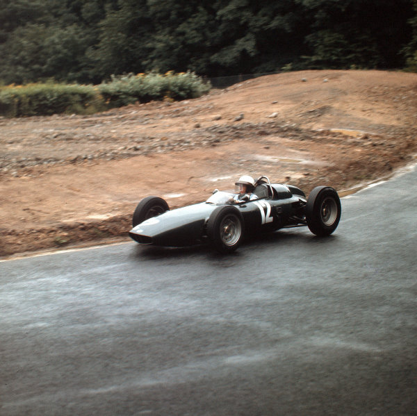 Nurburgring, Germany.3-5 August 1962.Richie Ginther (BRM P57) 8th position.Ref-3/0618.World Copyright - LAT Photographic