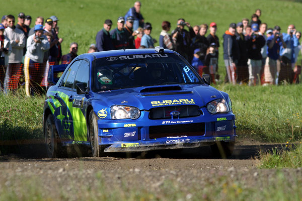2003 FIA World Rally Champs. Round nine, Neste Rally Finland. Rally7th-10th August 2003.Petter Solberg, Subaru, action. World Copyright: McKlein/LAT
