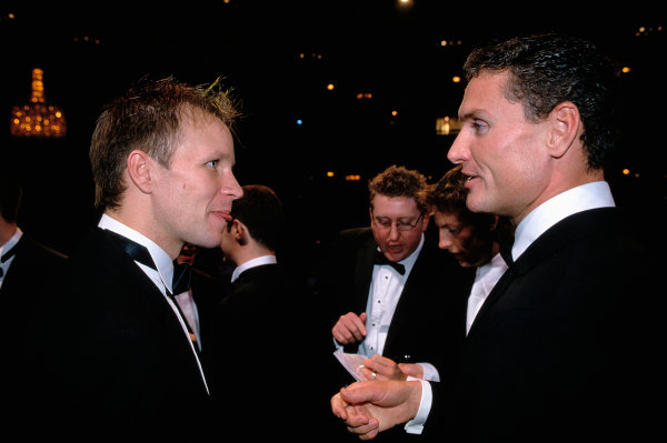 2003 Autosport AwardsGrosvenor Hotel, London, EnglandDavid Coulthard talks to 2003 World Rally Champion Petter Solberg. Portriat.World Copyright: Gold/LATref: 35mm Transparency (30mb scan)