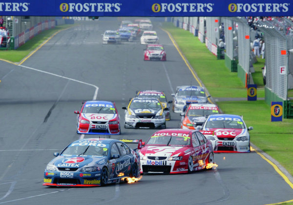 2005 Australian V8 SupercarsAlbert Park, Melbourne, Australia. 4th - 6th March.Russell Ingall (Falcon BA) leads the field down to the first corner. Action. World Copyright: Mark Horsburgh/LAT Photographicref: Digital Image Only