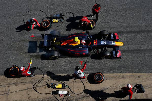 2016 GP2 Series Test 1. Circuit de Catalunya, Barcelona, Spain. Friday 11 March 2016. Pierre Gasly (FRA, PREMA, Racing), makes a pit stop World Copyright: Sam Bloxham/LAT Photographic. ref: Digital Image _L4R9586
