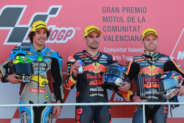 2017 Moto2 Championship - Round 18 Valencia, Spain  Sunday 12 November 2017 Podium: second place Franco Morbidelli, Marc VDS, Race winner Miguel Oliveira, Red Bull KTM Ajo, third place Brad Binder, Red Bull KTM Ajo  World Copyright: Gold and Goose Photography/LAT Images  ref: Digital Image 706061