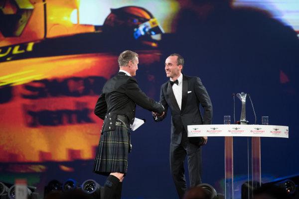 2017 Autosport Awards Grosvenor House Hotel, Park Lane, London. Sunday 3 December 2017. Robert Kubica shakes hands with David Coulthard. World Copyright: Zak Mauger/LAT Images  ref: Digital Image _O3I7078