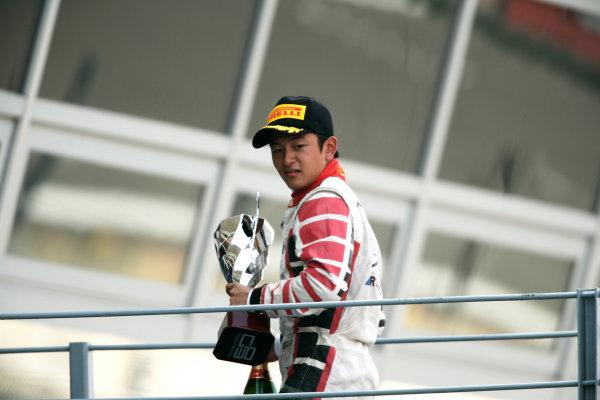 Round 8. Autodromo di Monza, Monza, Italy. 11th September 2011. Sunday Race Two.  Rio Haryanto, (INA, Marussia Manor Racing) on the podium. Portrait. Photo: Drew Gibson/GP3 Media Service. ref: Digital Image _Y2Z5326