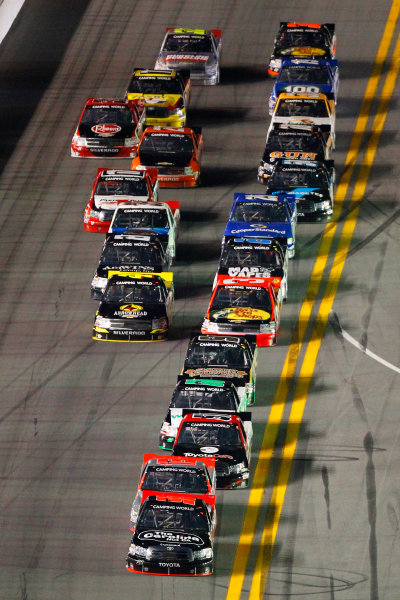 21-22 February, 2013, Daytona Beach, Florida USA Johnny Sauter, Todd Bodine and Kyle Busch.(c)2013, Russell LaBounty LAT Photo USA .