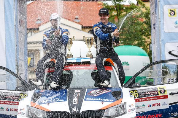 2016 FIA World Rally Championship, Round 07, Rally Poland,  June 30 - July 03, 2016 Teemu Suninen, Skoda, podium Worldwide Copyright: McKlein/LAT