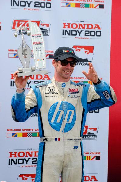 3-5 August, 2012, Lexington, Ohio USA3rd place Simon Pagenaud (#77) and his trophy.(c)2012, F. Peirce WilliamsLAT Photo USA