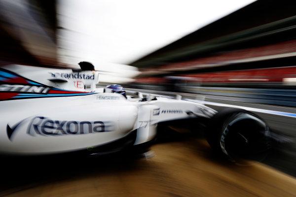 Circuit de Catalunya, Barcelona, Spain Monday 22 February 2016. Valtteri Bottas, Williams FW38 Mercedes, leaves the garage. World Copyright: Glenn Dunbar/LAT Photographic ref: Digital Image _89P3945