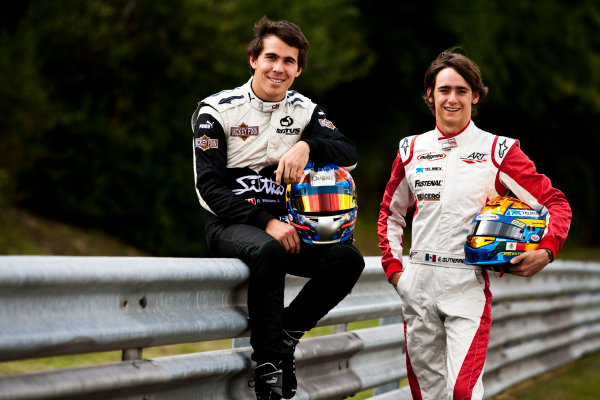 Round 6.Hungaroring, Budapest, Hungary. 29th July 2010. Thursday Preview.Robert Wickens, (CAN, Status Grand Prix) and Esteban Gutierrez, (MEX, ART Grand Prix) winners of races 9 and 10 in the GP3 series at Hockenheim. Portrait. World Copyright: Drew Gibson/GP3 Media Service. Digital Image _Y2Z0934