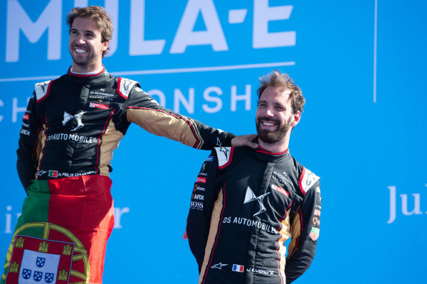Race winner Antonio Felix da Costa (PRT), DS Techeetah celebrates on the podium with teammate Jean-Eric Vergne (FRA), DS Techeetah, 3rd position