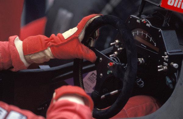 The steering wheel in one of the McLaren MP4-5B Hondas.