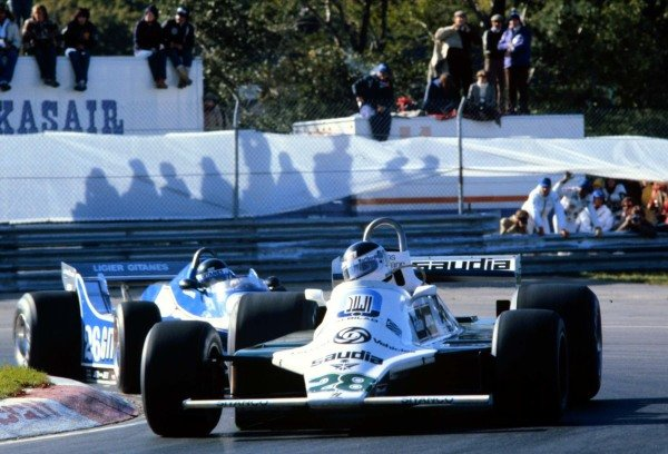1980 Canadian Grand Prix.Montreal, Quebec, Canada.26-28 September 1980.Carlos Reutemann (Williams FW07B Ford) leads Didier Pironi (Ligier JS11/15 Ford). They finished in 2nd and 3rd positions respectively.World Copyright - LAT Photographic