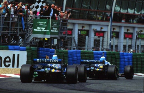 1996 French Grand Prix.Magny-Cours, Nevers, France.28-30 June 1996.Jean Alesi and Gerhard Berger (both Benetton B196-Renault) finish in 3rd and 4th positions respectively. Renault powered cars finished in the top 4 positions.World Copyright - LAT Photographic