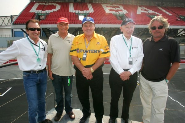 Emerson Fittipaldi (BRA) A1 Team Brazil Co-Seat Holder, Keke Rosberg (FIN) Niki Lauda (AUST) Alan Jones (AUS) and John Surtees (GBR) A1 Team Great Britain Chairman  A1 Grand Prix, Rd6, Dubai Autodrome, UAE, Qualifying Day, 10 December 2005. DIGITAL IMAGE
