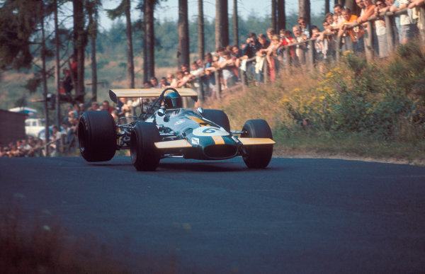 1969 German Grand Prix.Nurburgring, Germany.1-3 August 1969. Jacky Ickx (Brabham BT26A Ford) 1st position. Ref-69 GER 08.World Copyright - LAT Photographic