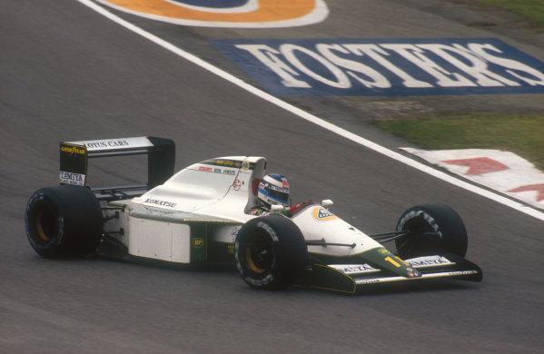 1991 San Marino Grand Prix. Imola, Italy. 26-28 April 1991. Mika Hakkinen (Lotus 102B Judd) 5th position. Ref-91 SM 21. World Copyright - LAT Photographic