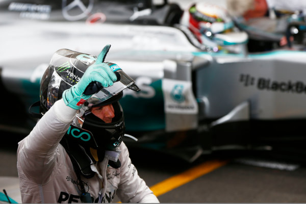 Monte Carlo, Monaco. Sunday 25 May 2014. Nico Rosberg, Mercedes AMG, 1st Position, celebrates on arrival in Parc Ferme. World Copyright: Andy Hone/LAT Photographic. ref: Digital Image _ONZ7597