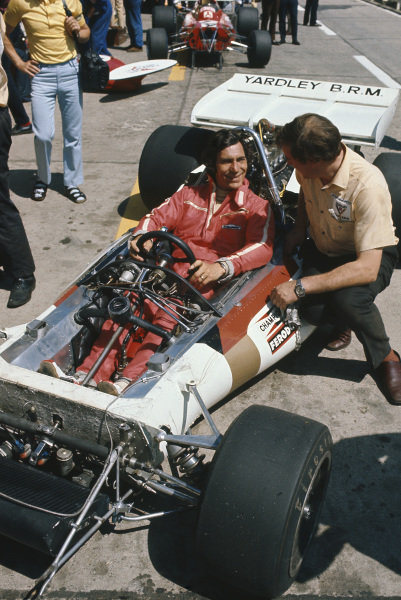 1971 German Grand Prix.  Nurburgring, Germany. 30th July - 1st August 1971.  Vic Elford, BRM P160, 11th position, in the pits.  Ref: 71GER09. World Copyright: LAT Photographic