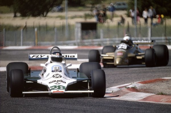 1980 French Grand Prix.Paul Ricard, France. 27-29 June 1980.Carlos Reutemann (Williams FW07B-Ford Cosworth) leads Riccardo Patrese (Arrows A3-Ford Cosworth).World Copyright: LAT PhotographicRef: 35mm transparency 80FRA09