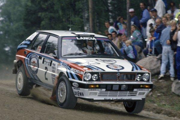 1991 World Rally Championship.1000 Lakes Rally, Finland. 22-25 August 1991.Juha Kankkunen/Juha Piironen (Lancia Delta Integrale 16V), 1st position.World Copyright: LAT PhotographicRef: 35mm transparency 91RALLY08